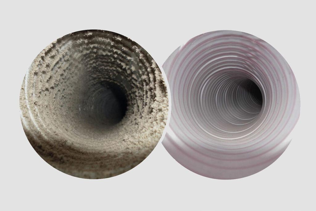 Lüftungsrohr vor und nach der Reinigung